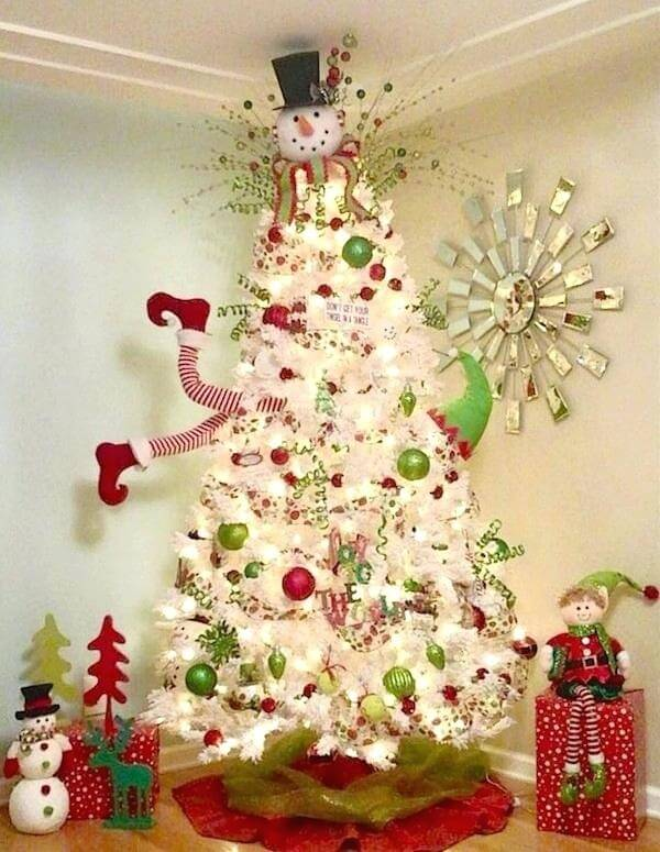White Christmas tree decorated in a funny way