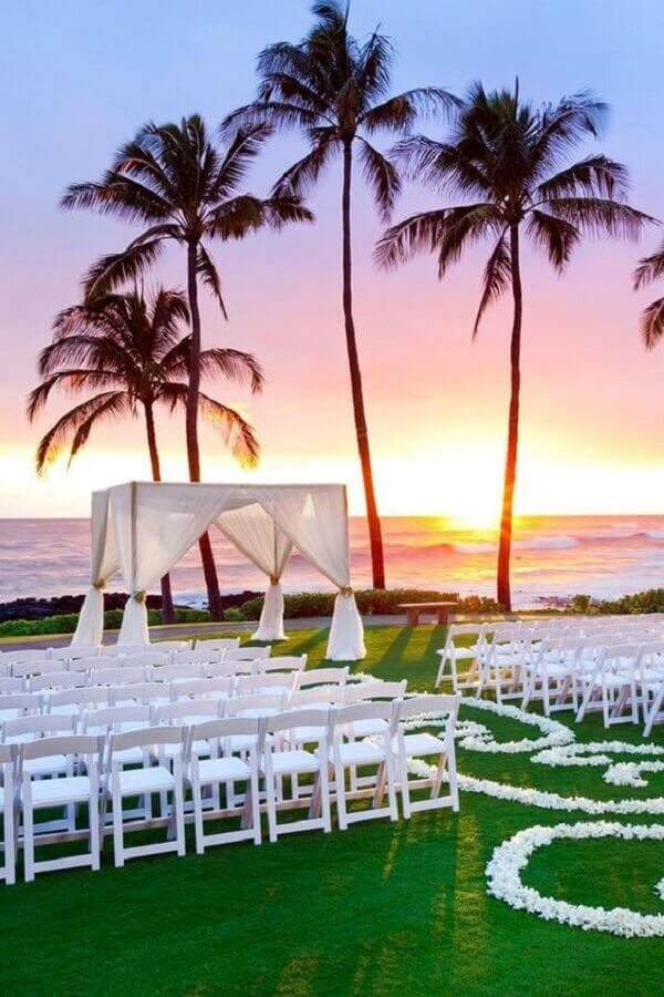simple outdoor wedding with sunset Photo Wedding Design Ideas