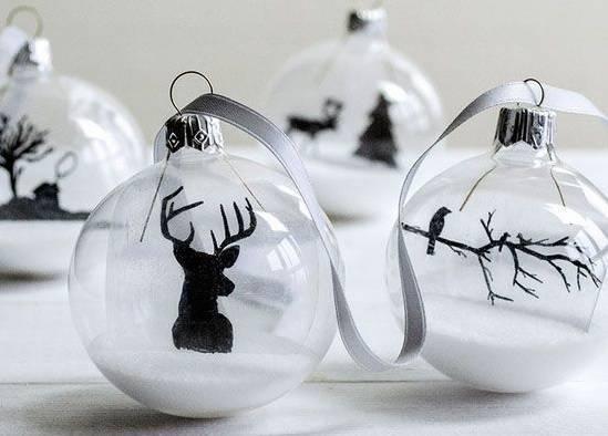 black and white christmas ball as a Christmas souvenir