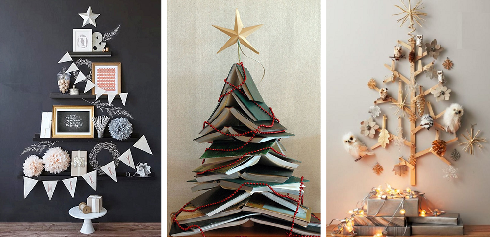 creative Christmas tree with books and sticker