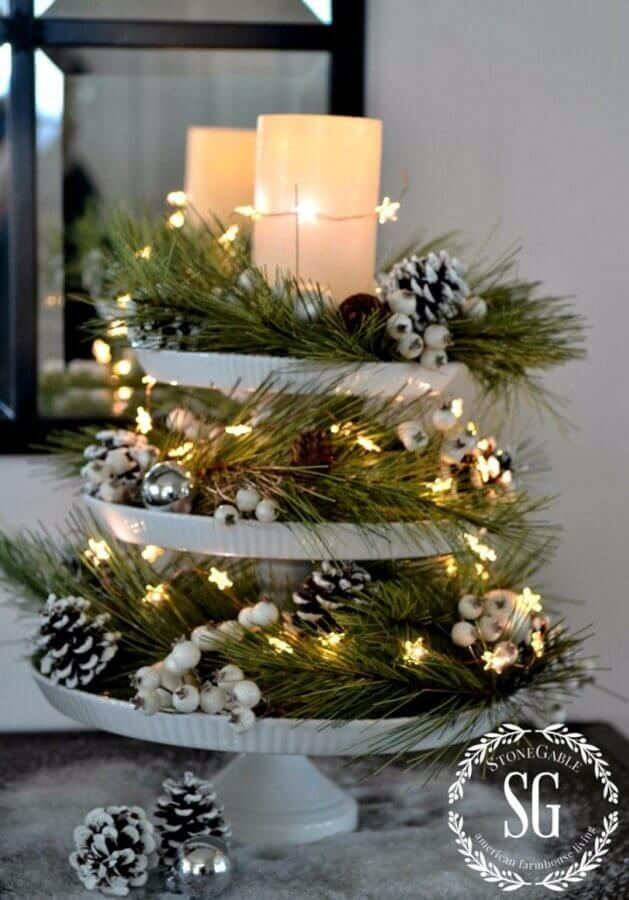 Christmas arrangement decorated with Christmas lights and pinecones Photo HomeDecorish