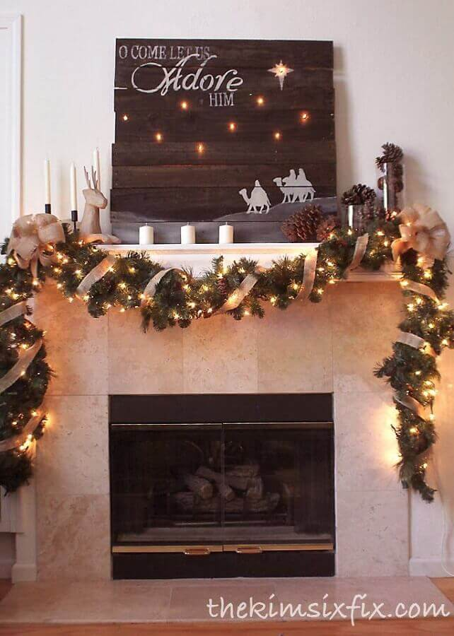 fireplace decorated with Christmas lights Photo The Kim Six Fix
