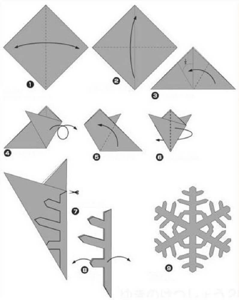 How to fold paper to make snowflakes