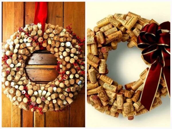 Creative Christmas decorations like this garland made with bottle stoppers