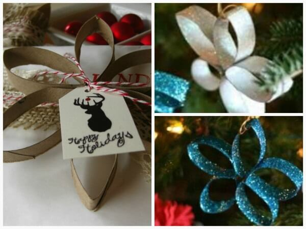 Christmas decorations made with paper rolls
