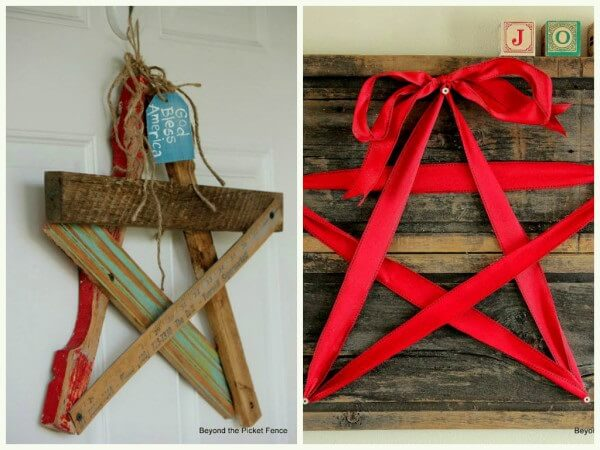 Wooden star decorates the environment