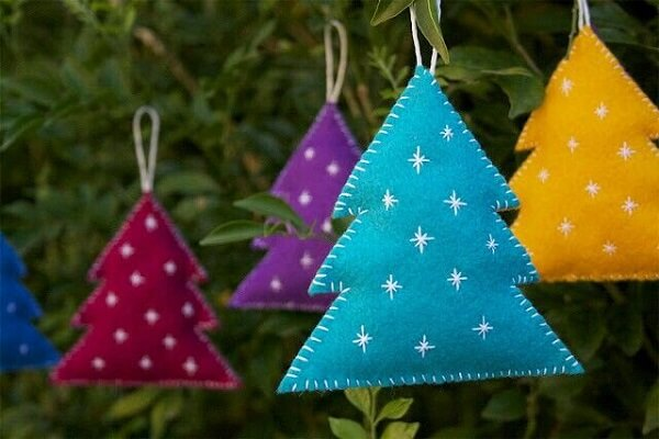 Christmas decorations made with coloured felt fabric