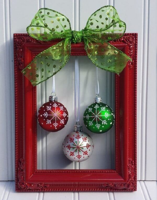 Christmas hollowed frame with colored balls