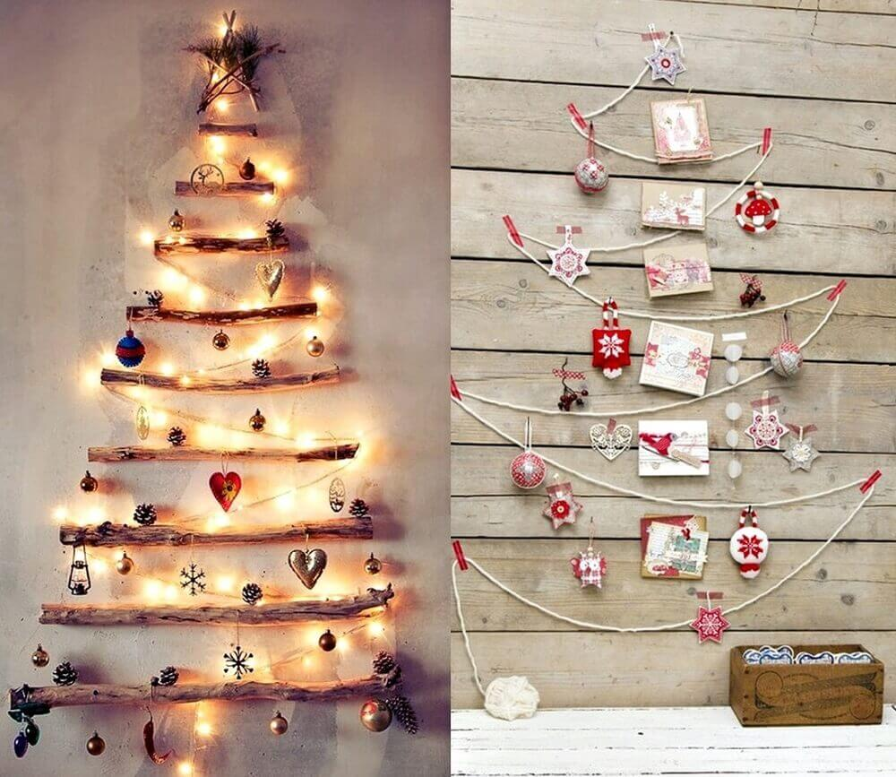 Beautiful ideas of Christmas decorations made on the wall