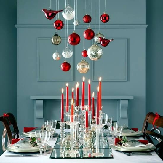 Christmas balls on the dinner table Photo by Of Design