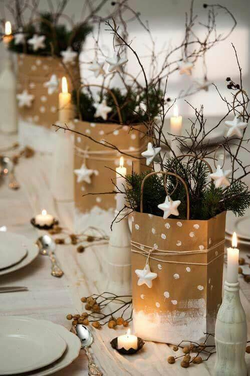 Baskets painted in gold and white as Christmas dinner table decorations Photo by House Beautiful
