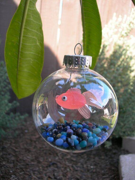 Christmas balls with fish in them