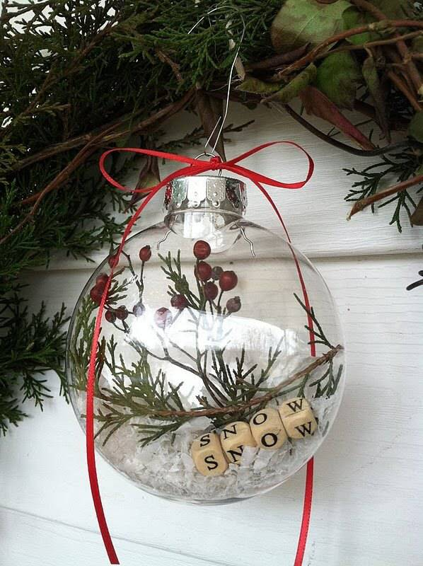 Christmas balls with plant branches