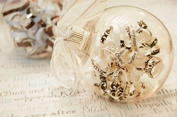 Christmas balls-with-book clippings