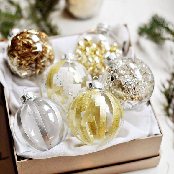 gold and copper silver Christmas balls