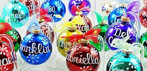Colored Christmas balls with names Photo from Ornament Shop