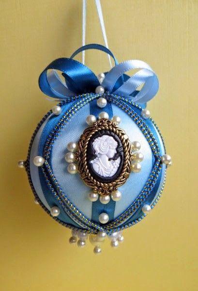 christmas balls - blue christmas ball with pendant