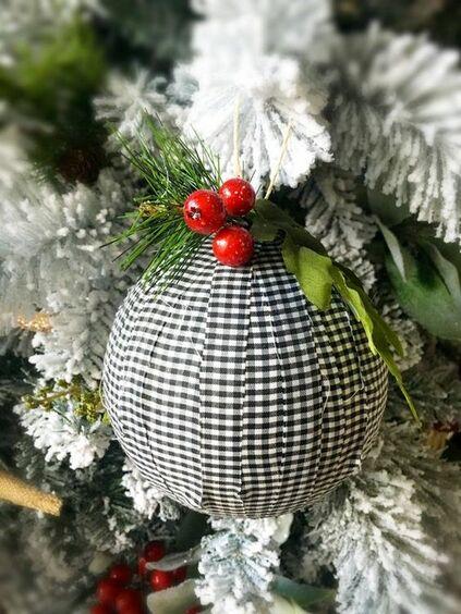 christmas balls - christmas ball with black and white fabric