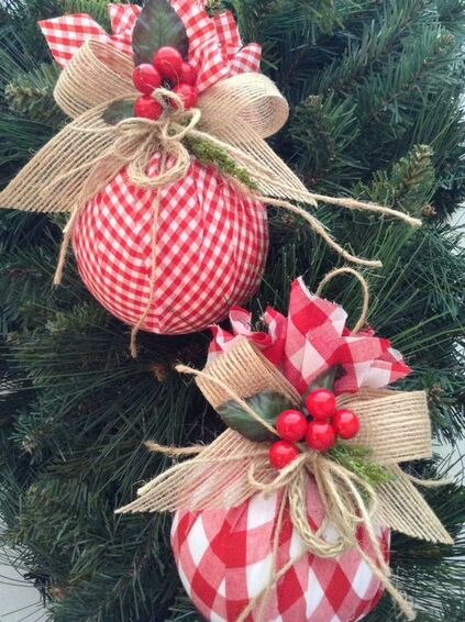 christmas balls - christmas balls with quicklaced fabric