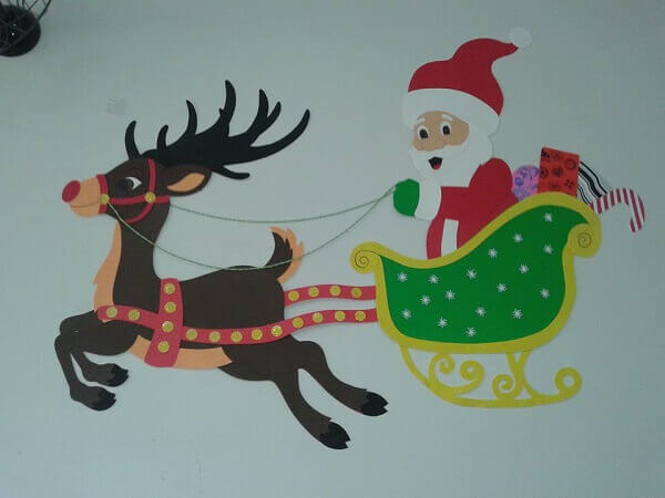 Christmas panel in EVA Santa Claus and reindeer
