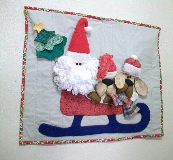 Christmas panel in papa noel fabric