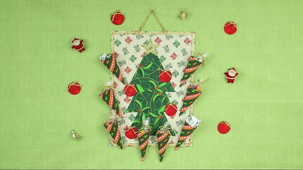 Christmas wall panel in fabric