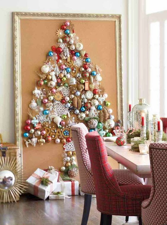 Christmas panel with colored balls