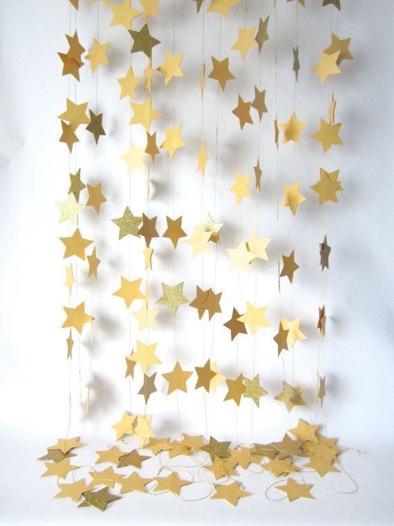 Christmas panel made with gold stars