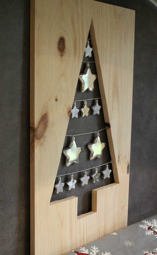 Wooden Christmas panel decorated with stars