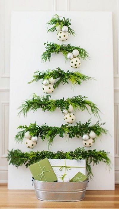 Christmas panel made with decorative plants