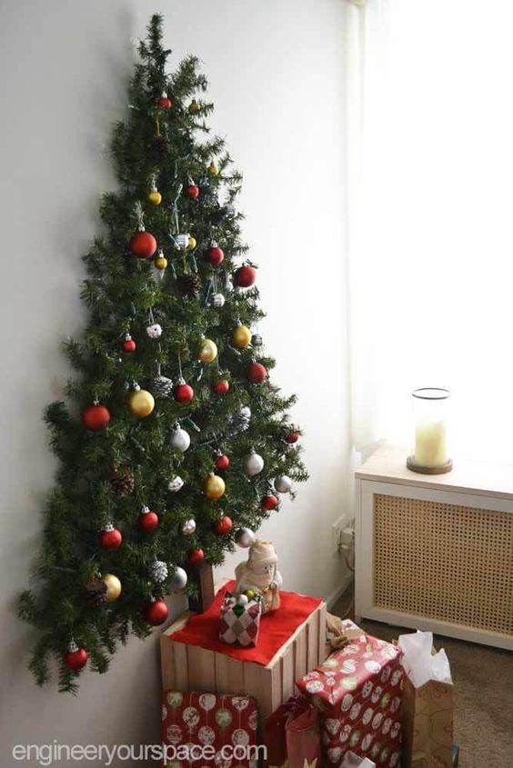 Christmas panel made with tree on the wall