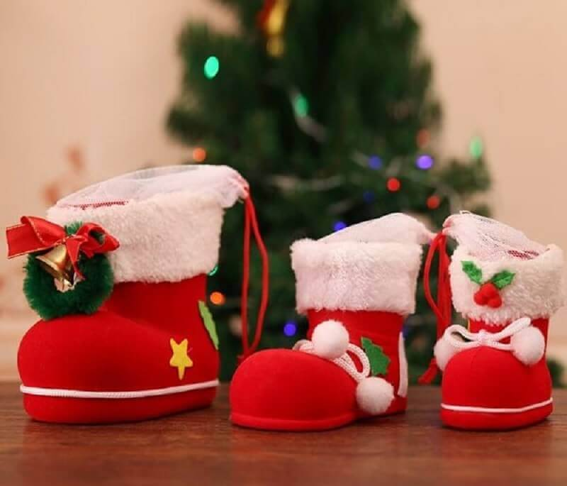 Christmas decorative tips with Santa Claus house boots Fonte Pinterest