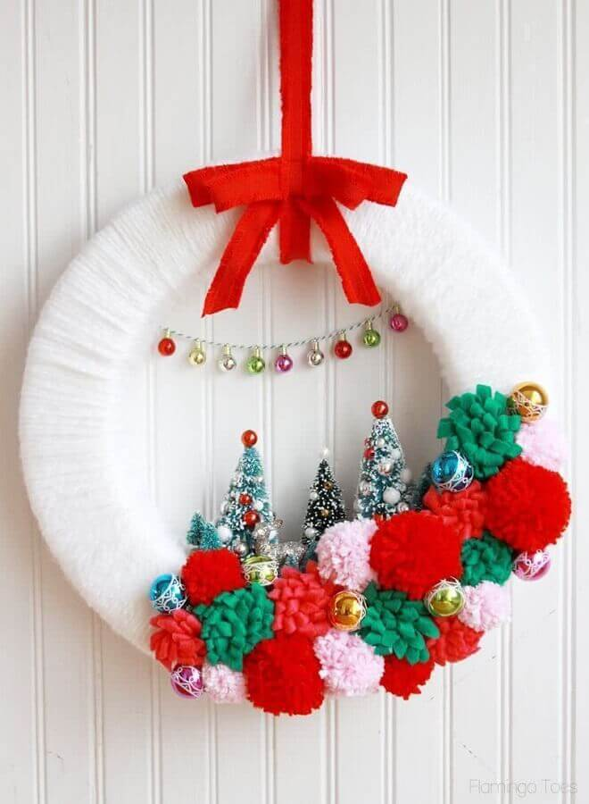 christmas ornament for door with white handmade garland Photo Christmas Glitter