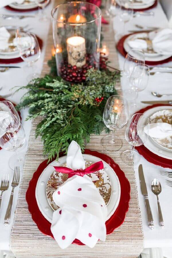 Christmas decorations for red and white table with foliage Photo The Lush List