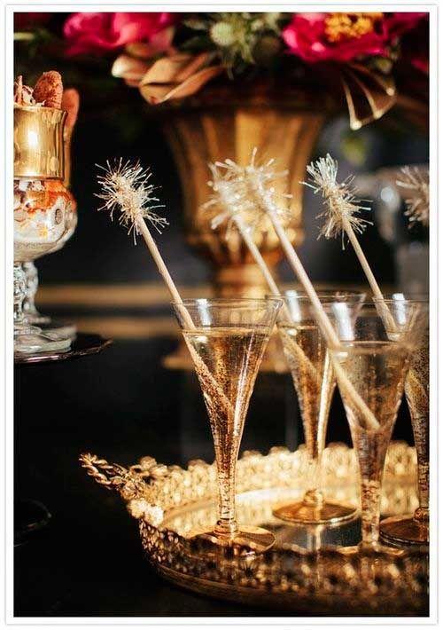 Golden New Year's Eve dinner