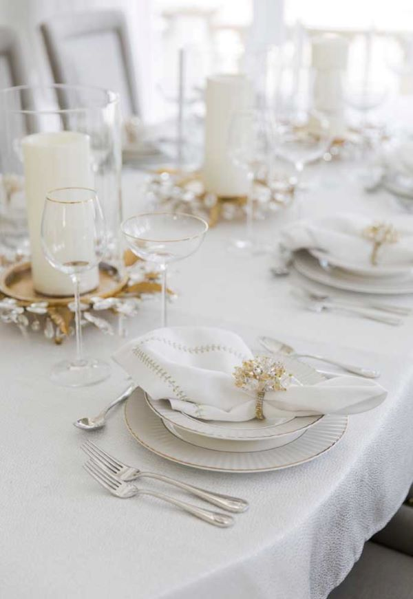 White and gold new year's eve dinner