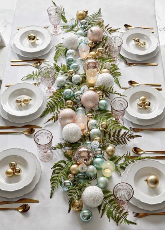 New Year's Eve dinner with Christmas balls