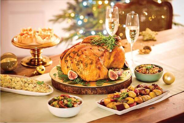 christmas dinner with champagne