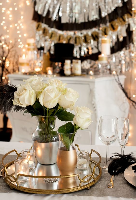 New Year's Eve dinner with silver details