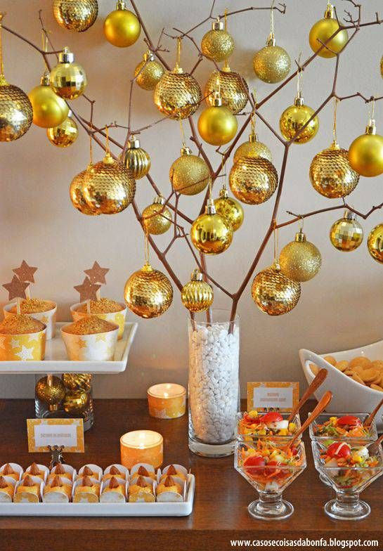 Golden decoration for new year's eve dinner
