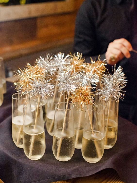 Decorated drinks for new year's eve dinner