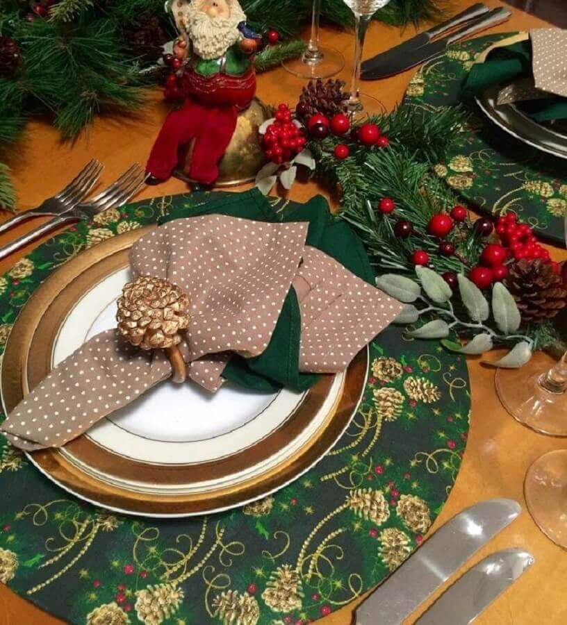 Christmas table decorated with Santa Claus and Christmas sousplat Photo Color and Table