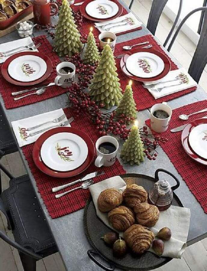Christmas table decorated with candles in the shape of Christmas pine trees Photo Etsy