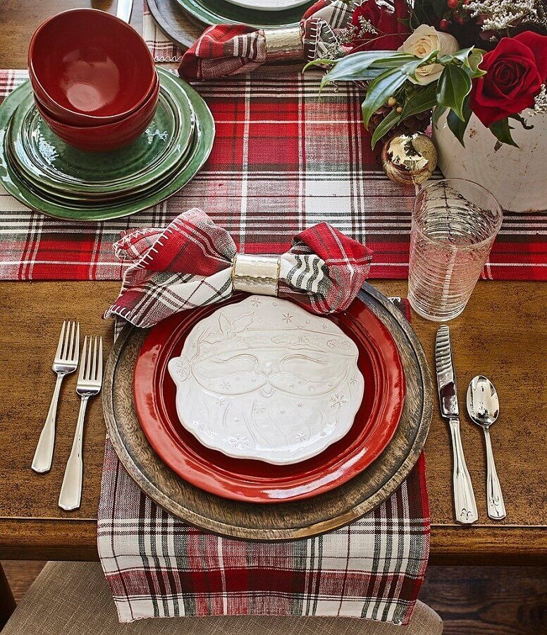 Santa Claus plate and checkered table runner for decorated christmas table Photo Crate and Barrel