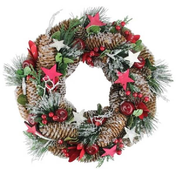Christmas wreath made with pinecones and artificial flowers