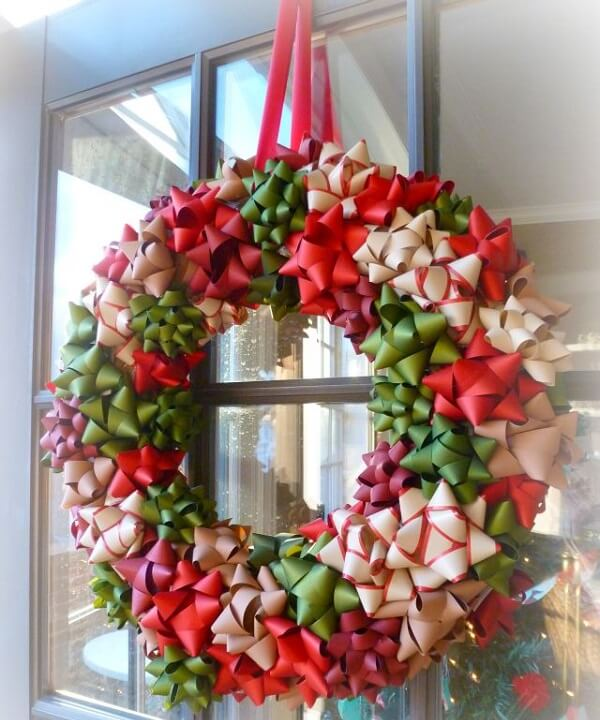 Christmas wreath made with ribbon flowers