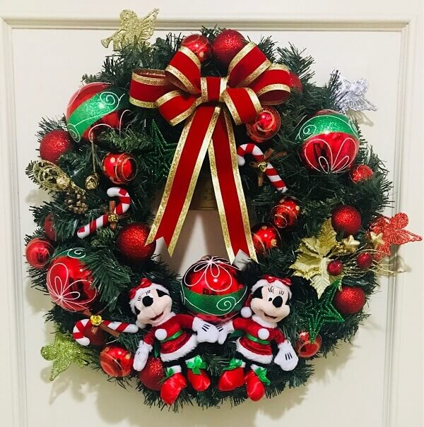 Christmas wreath made with Disney characters