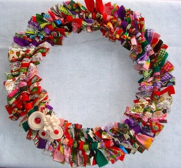Christmas wreath made of fabric scraps