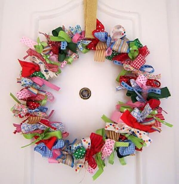 Christmas wreath made with colored ribbons