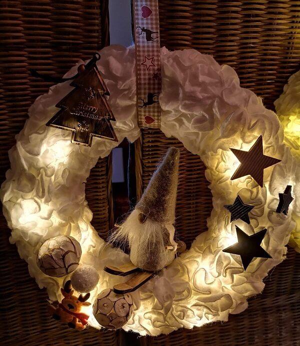Creative and illuminated Christmas wreath